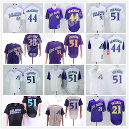 Camisolas 51 on-line-Homens Arizona Jersey 51 Randy Johnson 38 Curt Schilling 21 Greinke 44 Paul Goldschmidt Baseball Tamanho M-3XL
