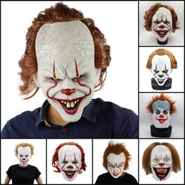 Film della maschera di faccia online-9Styles Halloween maschera di silicone film di Stephen King E 2 Joker Pennywise Mask Maschere a pieno facciale Horror Clown Cosplay Prop Partito