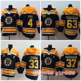 Bobby ou à capuche en Ligne-37 Patrice Boston Bruins Hockey sur glace Hoodies 33 Zdeno Chara 77 Ray Bourque 63 Brad Marchand 4 Bobby Orr Hommes Hoodie chandail de hockey Jersey