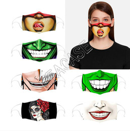2020 dessin animé couple de conception Cartoon Expression Fashion Face Mask Facemasks Couples Washable Designs Masks Adults Mouth Cover with Filters Slot Halloween Party D81304 dessin animé couple de conception pas cher