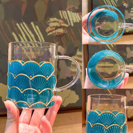 Hot Sale Starbucks Fish Scale Glass Cup With Mermaid stirring Spoon 12oz Cup