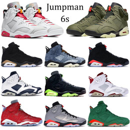 Scarpe di lavaggio online-Jumpman 6 6S pattini di pallacanestro Hare DMP 2020 Mens Sneakers Athletic denim lavato Travis Scotts Oregon anatre formatori neri con portachiavi