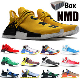 2020 la race humaine nmd hu chaussures de course NMD Jaune BBC Peace RACE HUMAINE Pharrell Williams Hommes Femmes Designer Chaussures Solaire Pack Mère Inspiration Pack Running Sneakers Avec Boîte la race humaine nmd hu chaussures de course pas cher