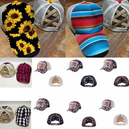 Cappelli di girasole online-Criss Cross Hat High Ponytail Washed Girasole Berretto da baseball sudici panini Trucker Cappellini Plaid leopardo Cappelli Snapback Trump Mesh Cappelli GGA3580