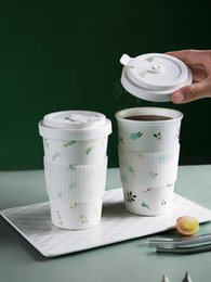 500ml Flower Ceramic Coffee Mug with Lid and Cover Milk Cups Water Drinkware Present for Family Kitchen Dinning Bar