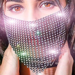 Máscaras faciais de veneza on-line-Shiny rhinestone mesh mask crystal masquerade party nightclub face mask Venice carnival jewelry suitable for ladies and girls