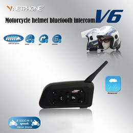 2021 citofono del casco del motociclo del bluetooth del interphone di bt Vodool V6 Casco da moto Bluetooth Intercom Citofono 10 Riders 1200m Auricolare moto wireless Auricolare impermeabile BT Interphone
