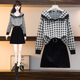 Coreano terno feminino on-line-Coréia do tricô pano 2020 Female Outono solto Turn-Down Collar Plaid Top Mini Bodycon Skirt Suit Vintage Casual Vestido