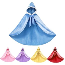 девушки фиолетовый плащ Скидка Blue Cloak For Girl Fall Winter Velvet Hooded Belle Yellow Purple Sleeping Beauty Pink Princess Sets