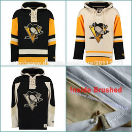 Personaliza moletom com capuz on-line-Pittsburgh Penguins Custom Hockey Jersey Hoodie Nome Sittched Nome Personalizado Camisolas