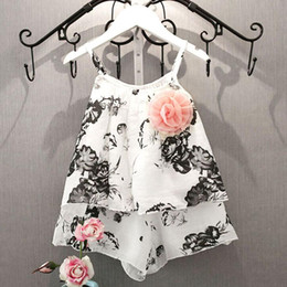 Pintura projeta roupas on-line-Special design Girls Wash Painting T-shirt Shorts Set Clothes Suit Chinese style Fashionable baby sets August 11
