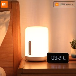 Smart lights apple on-line-Xiaomi Mijia lâmpada de cabeceira 2 Smart Table LED Night Light coloridos 400 Lumens Bluetooth Wi-Fi Touch Control Para a Apple HomeKit Siri