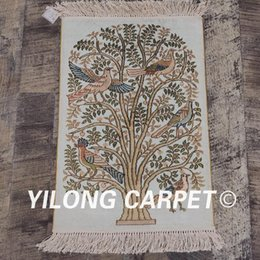 2021 шелковые гобелены Yilong 1.2'x1.7' 300Line персидский шелковый ковер Vintage Multicolor Tree Of Life Art Collection Гобелен (LH691A1.2x1.7)