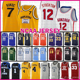 Camisetas de baloncesto divididas online-Tkm Gonzaga Bulldogs High School John 12 Stockton Ncaa Jugoplastika Split Pop Moive Toni 7 Kukoc Basketball Jersey Chris 4 Wolverines Wallverines