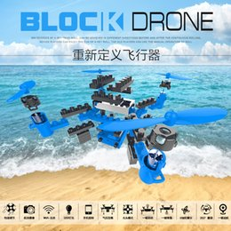 Brinquedo diy avião on-line-2.4G DIY Building Blocks Drone 6 Axis Gyro montado Remote Control Aircraft Quadrotor WIFI Drone aérea Boy Toy Sem Camera