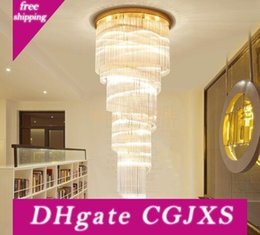 US $191.52 16% OFF Duplex staircase chandeliers modern staircase chandelier LED crystal chandelier rotating staircase lamp long chandelier suspension