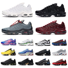 Светящиеся кроссовки онлайн-nike tn air max plus tn just do it Toggle Lacing se mens running shoes Triple Black White tns 3 Volt Glow trainers Team Red men sports sneakers Zapatos Chaussures scarpe Schuhe