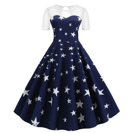 Star dress stampato più dimensioni online-2020 donne rappezzatura del merletto dell'oscillazione Vintage Summer Dress Stella Stampa Party Dress Plus Size elegante Robe Rockabilly Pin Up Vestidos