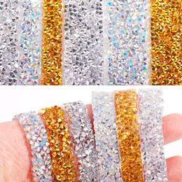 Artisanat d'art pour halloween en Ligne-NOUVEAU Fix auto-adhésif acrylique Crystal strass autocollants Ruban Craft Glitter Gem bricolage autocollants pour le scrapbooking Arts Décoration DHA963