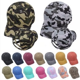 cappelli di visiera camuffamento Sconti Lavato Criss Cross Coda di cavallo Berretto da baseball in cotone Trucker Caps Hip Outdoor Sun Retro camuffamento Soild cappello di colore Sport Visor Hop LJJP429