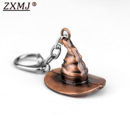2020 anéis harry potter Zxmj Harried Magic Hat Keychain Chaveiro Potters Filme Hogwarts faculdade Assistente de tampão liga Chaveiro Chaveiros jóia para os fãs de presente anéis harry potter barato
