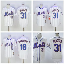 Camicie di fragola online-Uomini all'ingrosso Darryl Strawberry Jersey Mike Piazza # 30 Michael Conforto Beachball Jersey Camicia Cucita Top Quality