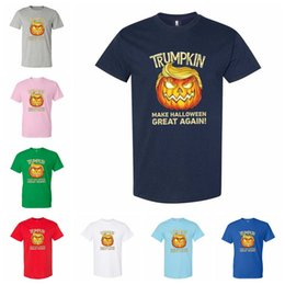 2020 lustig halloween t-shirts Halloween Trump T-shirt Cotton Adult Unisex Funny Trumpkin Make Halloween Great Again Clothes Casual Sports Tees LJJP352 günstig lustig halloween t-shirts