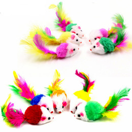 queues de souris Promotion Peluche Souris Cat Teaser Teaser Simulation Colorful Feather queue False Mouse Morsure Résistant Funny Cats Toy Chaton Catch Jouets