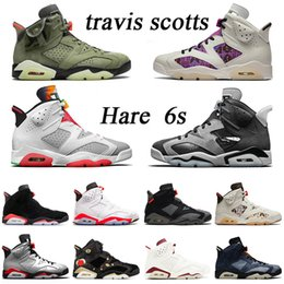 2020 baseball-buchse air jordan retro 6 6s Herren Travis Scott Kaktus Jack Basketballschuhe New Jumpman Quai 54 Turnschuhe Rauchgrau Hase Slam Trainer Größe US 13 günstig baseball-buchse