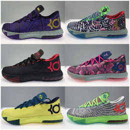 scarpe basse in basso kd Sconti Alta qualità Athletic Mens What The KD 6 VI Low Top Basketball Shoes sneakers zia Pearl rosa BHM MVP Blue Gold floreale Kevin Durant KD6