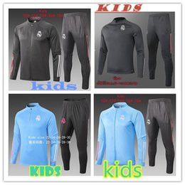 2020 zip kinder Top 20 21 Real Madrid Kinder Trainingsjacke Kit 2020 GEFAHR Fußball-Trikot MODRIC BENZEMA BALE Full Zip Fußball Jogging Jacke Trainingsanzug rabatt zip kinder