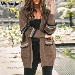 casacos para mulher mais tamanhos Desconto Mulheres Brasão Plus Size malha Tassel longas Cardigans Vintage Sweater AutumnLong manga do casaco étnico Loose Women Sweater Casacos 3XL