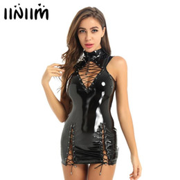 2020 robes latex pour femmes Femmes Mode Femmes Wetlook creux avant en cuir verni Out lacent Latex Mini robe moulante pour Cocktail Party Night Clubwear robes latex pour femmes pas cher