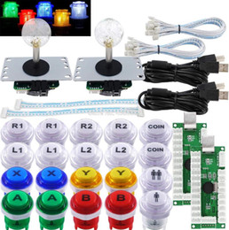 Botão microinterruptor on-line-Arcade joystick pc 2 Jogador DIY LED Kit botões do joystick Way Microswitch 8 Encoder cabo USB para PC MAME Raspberry Pi