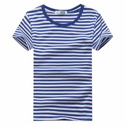 Maglietta bianca blu a righe online-Seaman Cosplay T-shirt Moda Uomo Blu Bianco Stripes T-shirt Tees Top maglietta unisex Seaman Stripes Sailor T-shirt