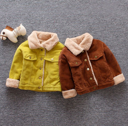 Brauner fellpelzmantel online-Mode Baby Kinder Mantel Jungen Corduroy Langarm Casual Outwear Girls Faux Pelz Verdicken Warme Jacke Kinder Winter Kleidung A4035