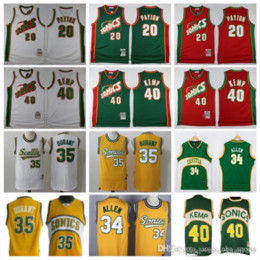 2021 basquete feminino uniforme 2019 homens Basqueteball Shawn Kemp Jersey 40 Gary Payton 35 Ray Seattle