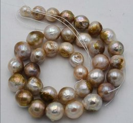 "Perle di perle naturali mm online-Naturale 11-13 mm multicolore barocchi Edison Beads Pearl Necklace 18"" 36"""