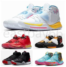 2021 kyrie en plein air Top Fashion Kyrie VI 6 6s Hommes Neon Graffiti Chaussures de basket-Rouge haute paniers Formateurs Qualité Sports de plein air Chaussures de sport athlétisme Zapatos