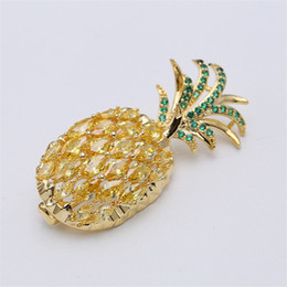 goupilles d'ananas Promotion Mode Broches Pins jaune plaqué or CZ Pineapple Broche Robe Pins Broches pour mariage Nice Party cadeau