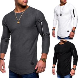 Männer lange t-shirt design online-New Mens O-Ansatz T-Shirt Fitness Bodybuilding T-Shirt High Street Frühling Langarm-Zipper beiläufige Art Cotton Top