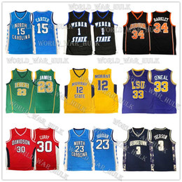 camisetas de baloncesto naranja Rebajas NCAA Vince Carter 15 jerseys Shaquille Oneal 33 Michael North Carolina State University College de LeBron James 23 Ja Barkley Morant Baloncesto