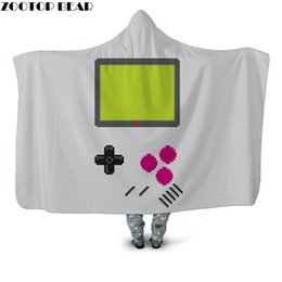 2021 cool couverture Jeu cool Wearable en peluche Blanket Blanket Casual Throw polaire Accueil Bureau Bedspread populaire mode 3D Imprimer Hooded