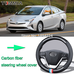le ruote prius Sconti 38CM Size M Rubber Carbon Fiber Leather Car Steering Wheel Cover Non-slip breathable For Toyota prius