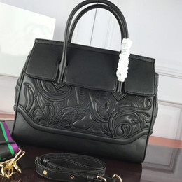 2021 tote signore borse a mano nero Black di alta qualità Black Genuine Real Leather Handbag Donne Grandi Borse Tote Borse Lady Ricamo Borsa a mano Crossbody Big Shopper Bag Crossbody Shopper
