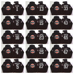 sweats des collèges Promotion NCAA Ohio State Buckeyes College 97 Bosa 15 Elliott 12 C.JONES 16 BARRETT 1 B.Miller à capuche noir football Sweat à capuche Vestes Maillots