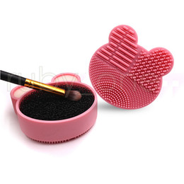 макияж губка кисть  Скидка Makeup Brushes Silicone Cleaning Brush Washing Pad Gel Cleaner Scrubber Sponge Mat Foundation Cosmetics Brush Cleaning Make Up Tool RRA3476