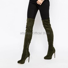 Botas de veludo de joelho alto on-line-Exército Verde Suede Leather Women Over-the-joelho botas altas da coxa Velvet Zipper Fino sapatos de salto alto Hot Vendedor Moda Footwear