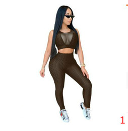 Costumes de sport sexy en Ligne-Plus Size Yoga Tracksuits for Women Sleeveless Yoga Sport Track Suit with Tight Perspective Pullover Sexy Vests Pants Suits Size XS-5XL