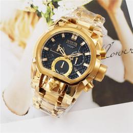 Invicta Model:25210 Reserve Bolt Zeus Magnum Swiss 18k Gold Plated Dual Dial 52.5mm Men Quartz Watch
